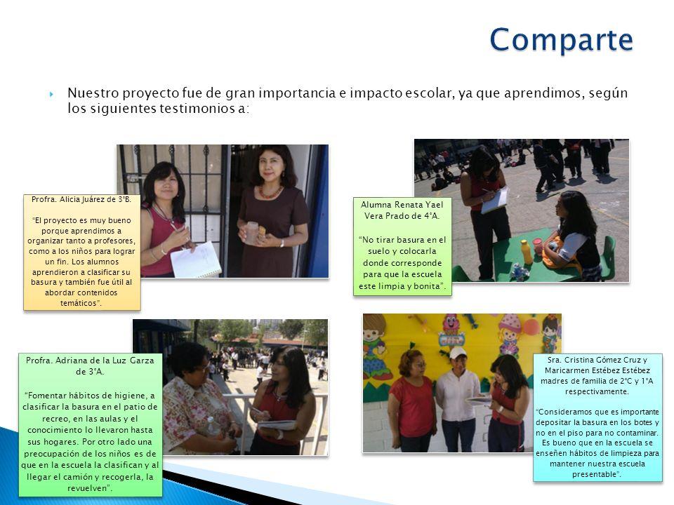 Comparte Nuestro proyecto fue de gran importancia e impacto escolar, ya que aprendimos, según los siguientes testimonios a: