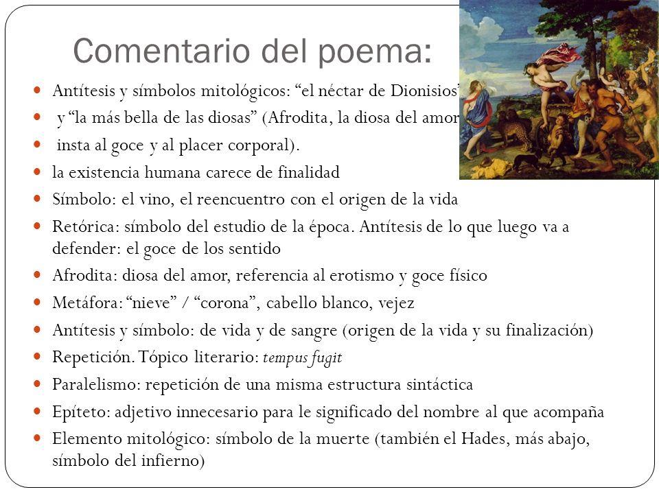 Comentario del poema: Antítesis y símbolos mitológicos: el néctar de Dionisios y la más bella de las diosas (Afrodita, la diosa del amor,