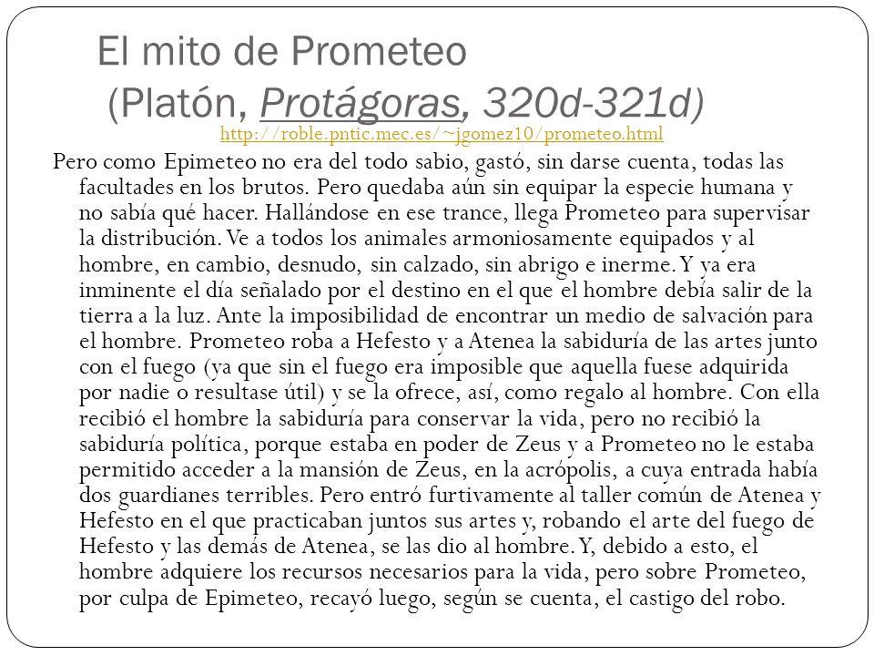 El mito de Prometeo (Platón, Protágoras, 320d-321d)