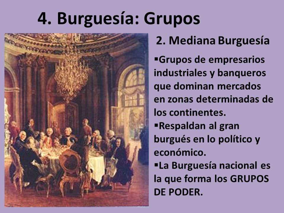 4. Burguesía: Grupos 2. Mediana Burguesía
