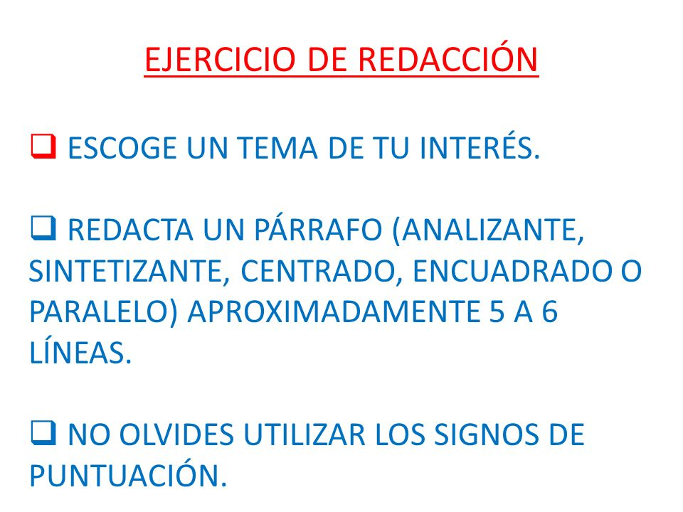 EJERCICIO DE REDACCIÓN