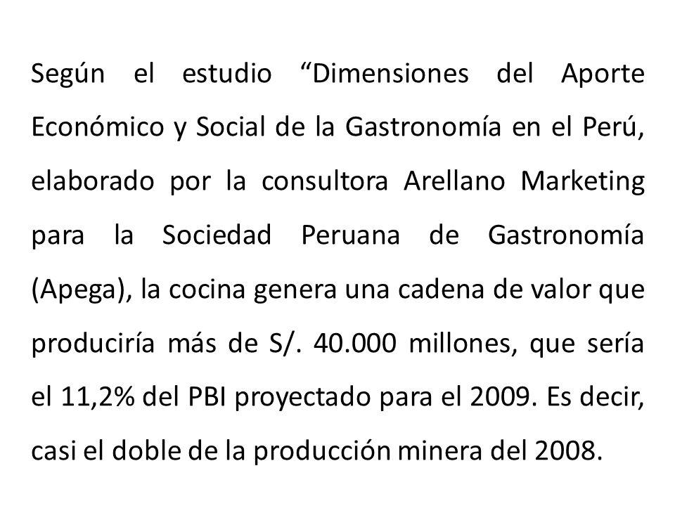 Según el estudio Dimensiones del Aporte Económico y Social de la Gastronomía en el Perú, elaborado por la consultora Arellano Marketing para la Sociedad Peruana de Gastronomía (Apega), la cocina genera una cadena de valor que produciría más de S/.