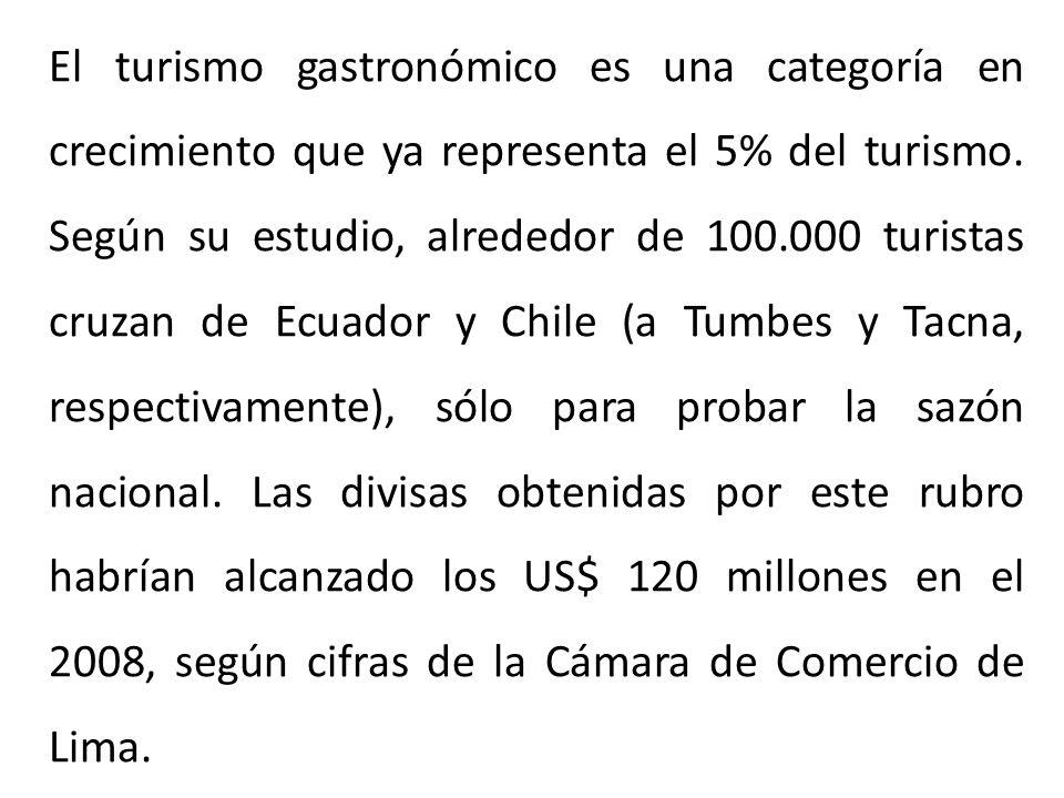 El turismo gastronómico es una categoría en crecimiento que ya representa el 5% del turismo.