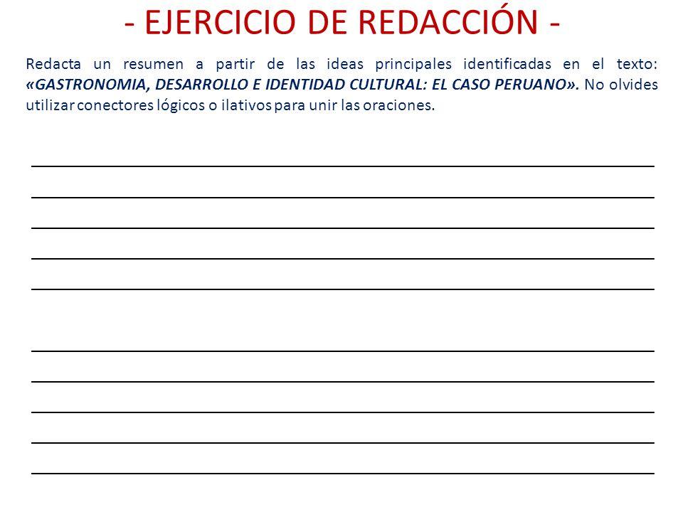 - EJERCICIO DE REDACCIÓN -