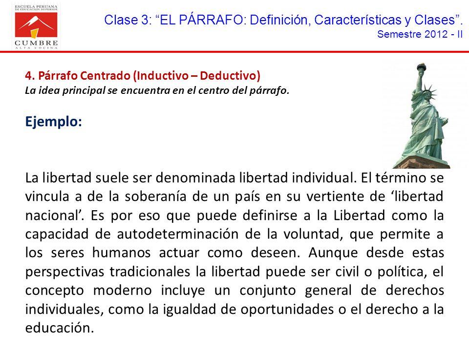 Clase 3: EL PÁRRAFO: Definición, Características y Clases .