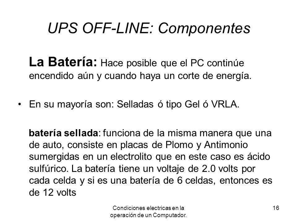 UPS OFF-LINE: Componentes