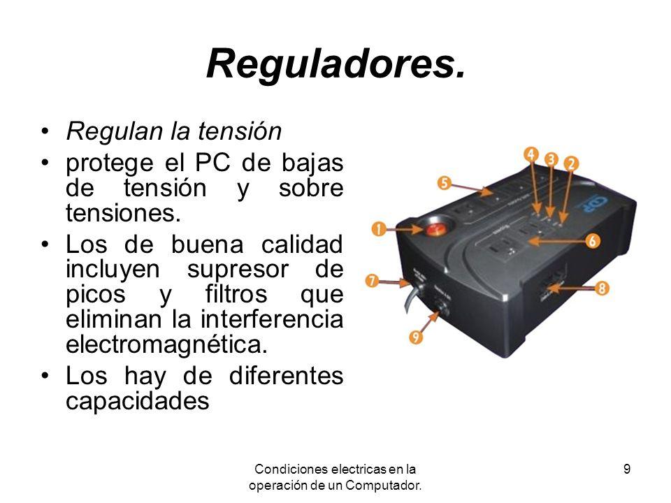 Condiciones electricas en la operación de un Computador.
