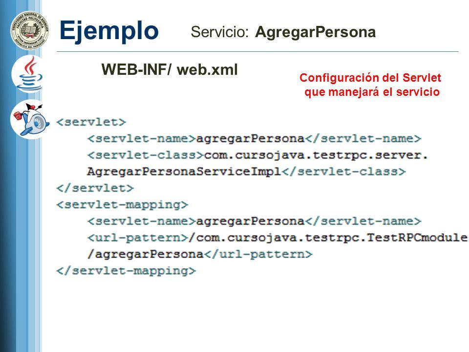 Configuración del Servlet que manejará el servicio