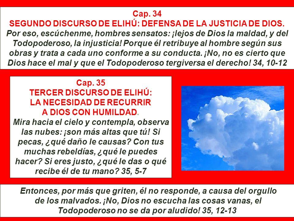 SEGUNDO DISCURSO DE ELIHÚ: DEFENSA DE LA JUSTICIA DE DIOS.