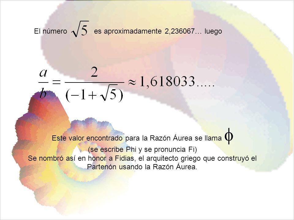 Este valor encontrado para la Razón Áurea se llama 
