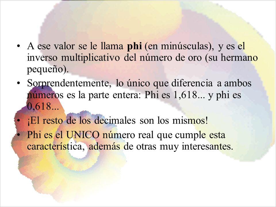 A ese valor se le llama phi (en minúsculas), y es el inverso multiplicativo del número de oro (su hermano pequeño).