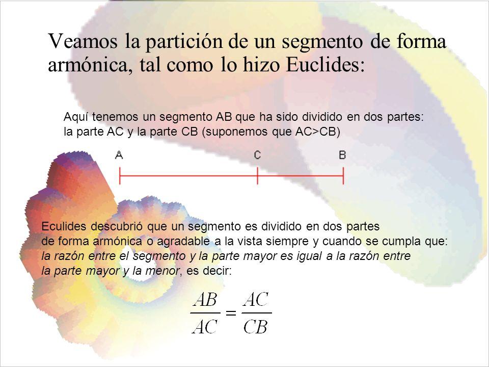 Veamos la partición de un segmento de forma armónica, tal como lo hizo Euclides: