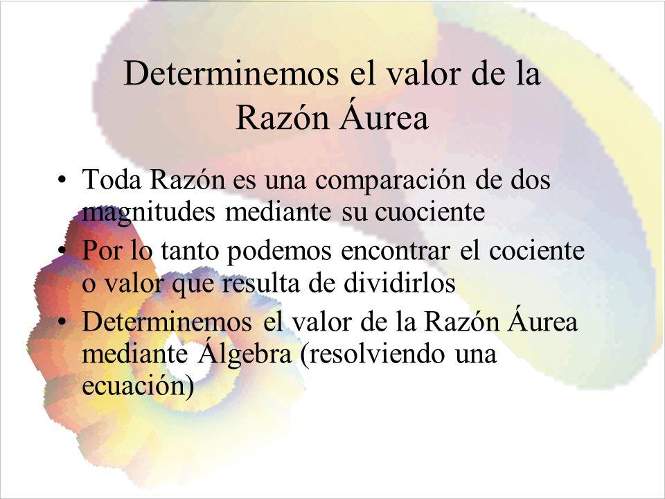 Determinemos el valor de la Razón Áurea