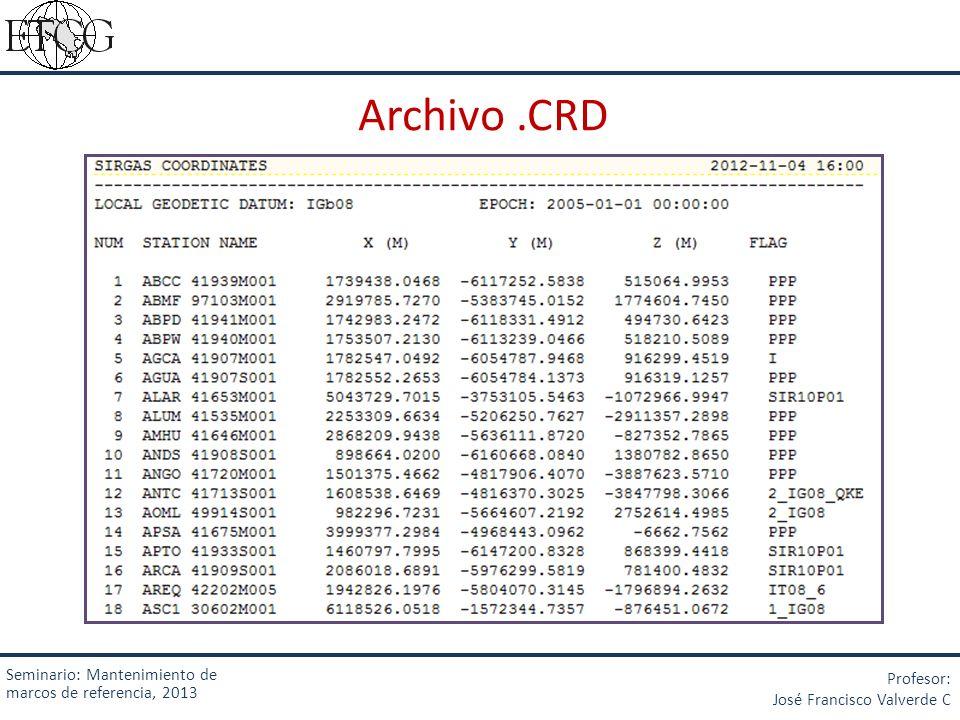 Archivo .CRD Seminario: Mantenimiento de marcos de referencia, 2013