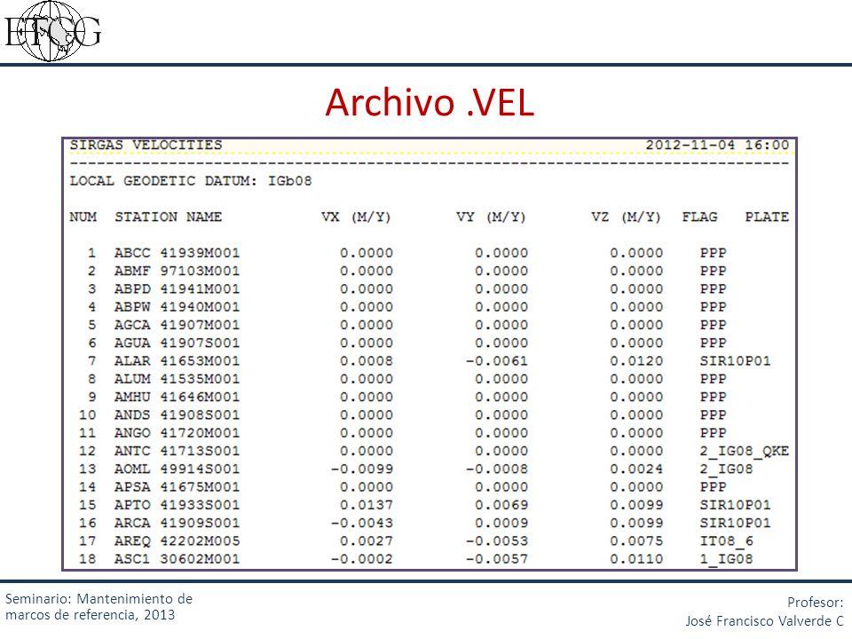 Archivo .VEL Seminario: Mantenimiento de marcos de referencia, 2013