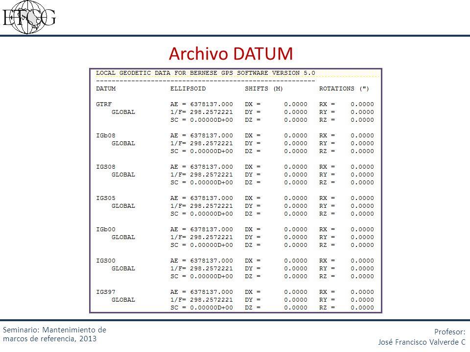 Archivo DATUM Seminario: Mantenimiento de marcos de referencia, 2013