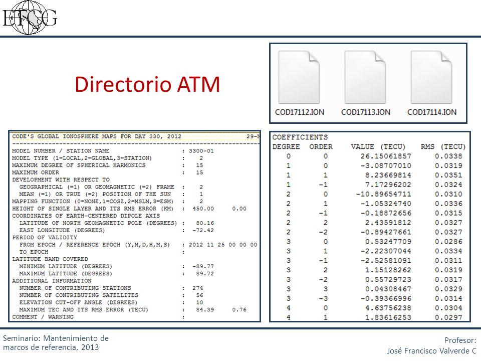 Directorio ATM Seminario: Mantenimiento de marcos de referencia, 2013