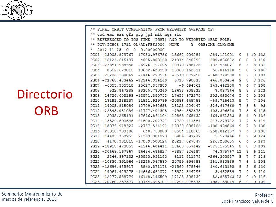 Directorio ORB Seminario: Mantenimiento de marcos de referencia, 2013