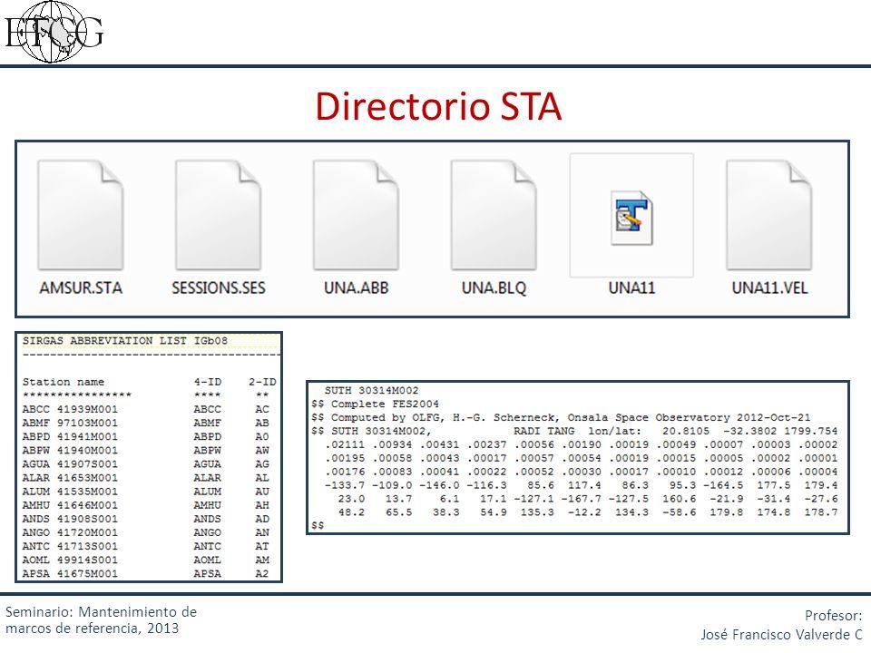 Directorio STA Seminario: Mantenimiento de marcos de referencia, 2013