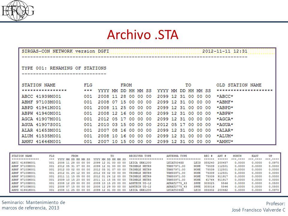 Archivo .STA Seminario: Mantenimiento de marcos de referencia, 2013