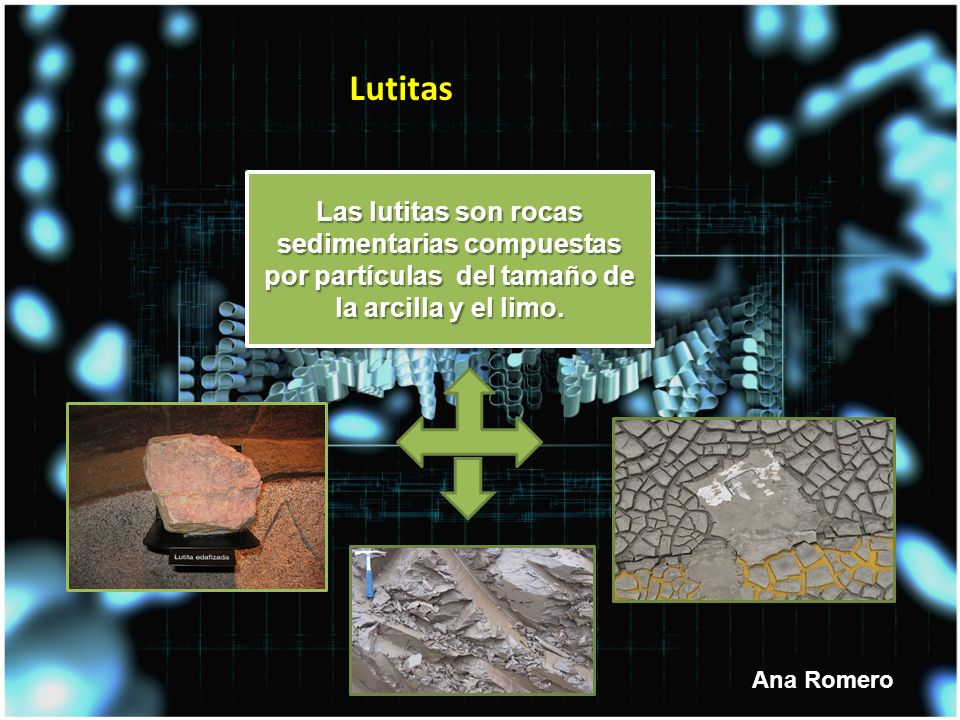 Lutitas Las lutitas son rocas sedimentarias compuestas por partículas del tamaño de la arcilla y el limo.