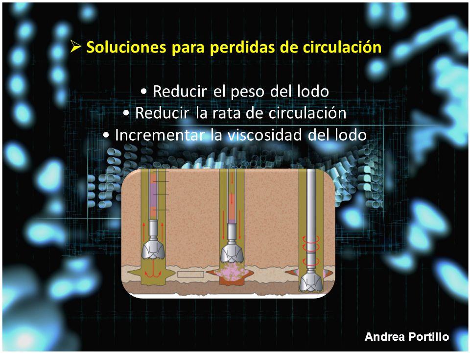 Soluciones para perdidas de circulación • Reducir el peso del lodo • Reducir la rata de circulación • Incrementar la viscosidad del lodo