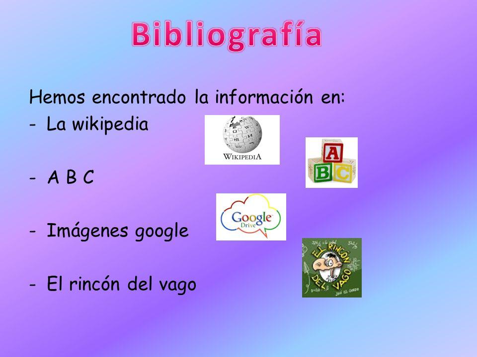 Bibliografía Hemos encontrado la información en: La wikipedia A B C