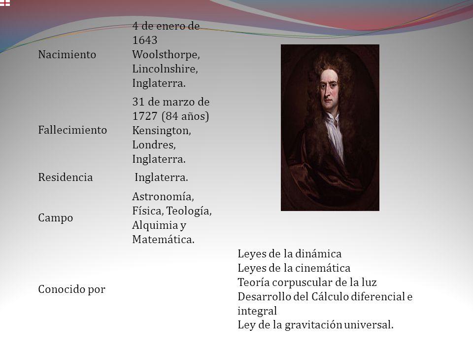 Nacimiento 4 de enero de 1643 Woolsthorpe, Lincolnshire, Inglaterra. Fallecimiento. 31 de marzo de 1727 (84 años) Kensington, Londres, Inglaterra.