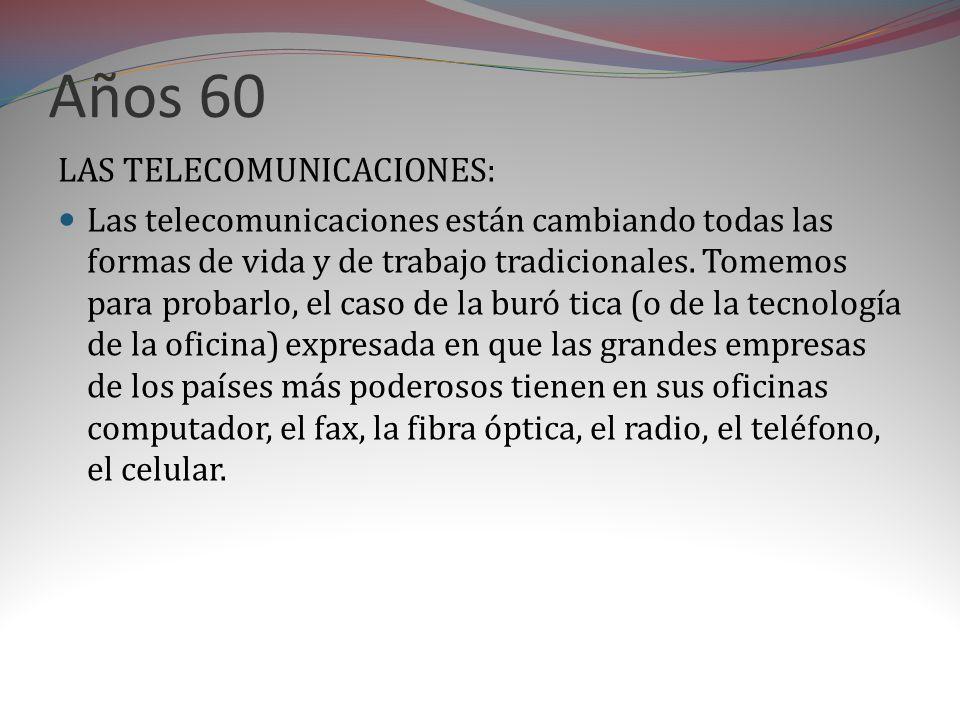 Años 60 LAS TELECOMUNICACIONES: