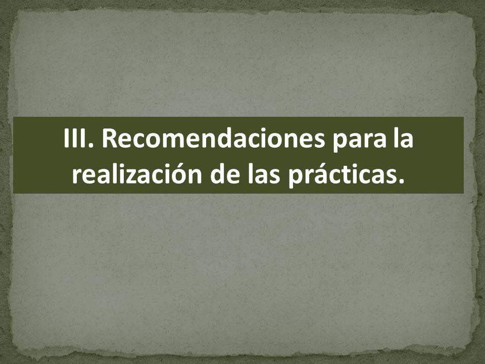 III. Recomendaciones para la realización de las prácticas.