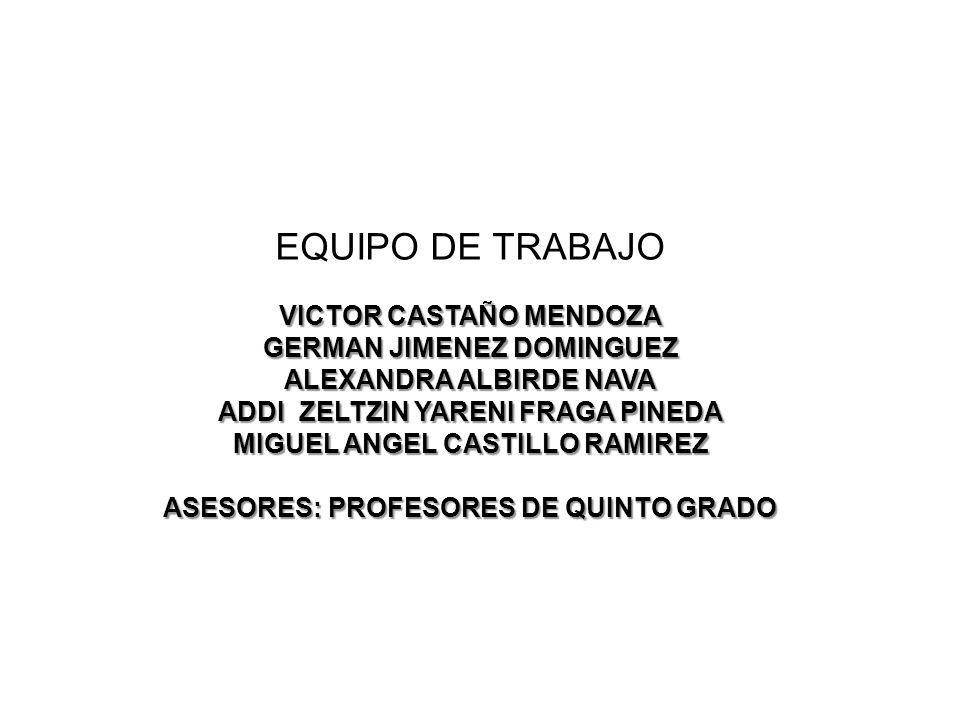 EQUIPO DE TRABAJO VICTOR CASTAÑO MENDOZA GERMAN JIMENEZ DOMINGUEZ ALEXANDRA ALBIRDE NAVA ADDI ZELTZIN YARENI FRAGA PINEDA MIGUEL ANGEL CASTILLO RAMIREZ ASESORES: PROFESORES DE QUINTO GRADO