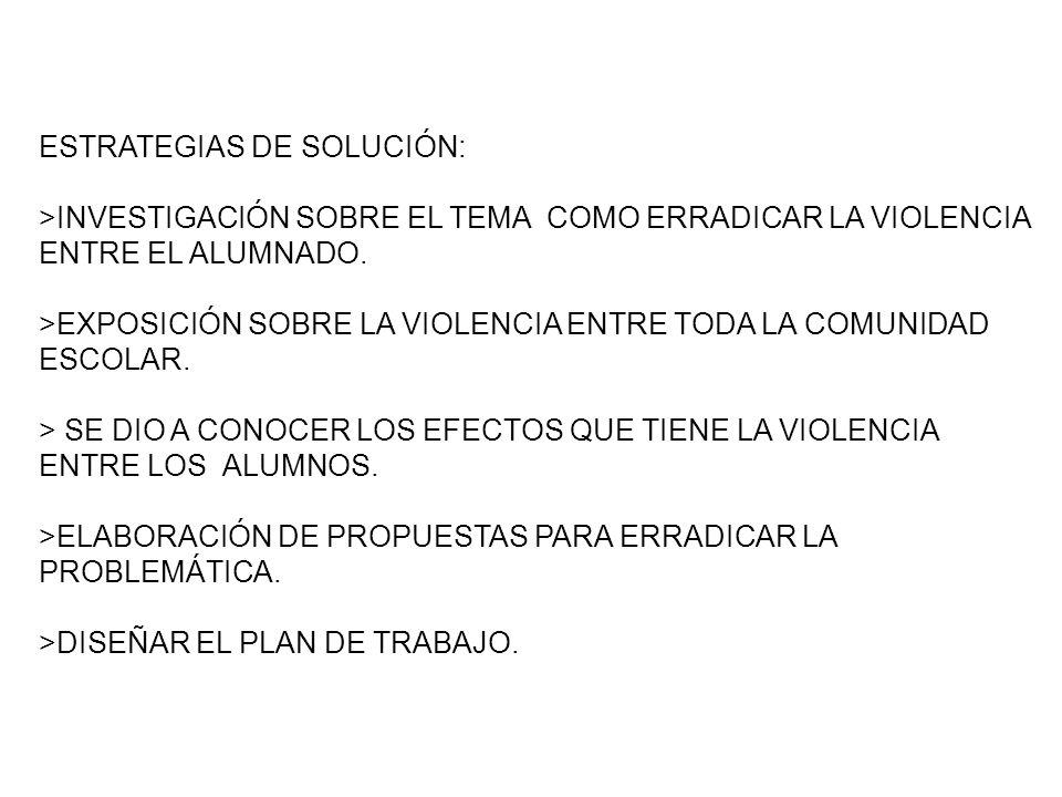 ESTRATEGIAS DE SOLUCIÓN: >INVESTIGACIÓN SOBRE EL TEMA COMO ERRADICAR LA VIOLENCIA ENTRE EL ALUMNADO.