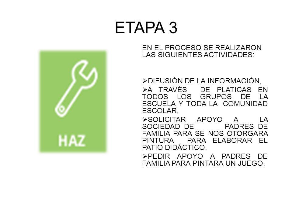 ETAPA 3 EN EL PROCESO SE REALIZARON LAS SIGUIENTES ACTIVIDADES: