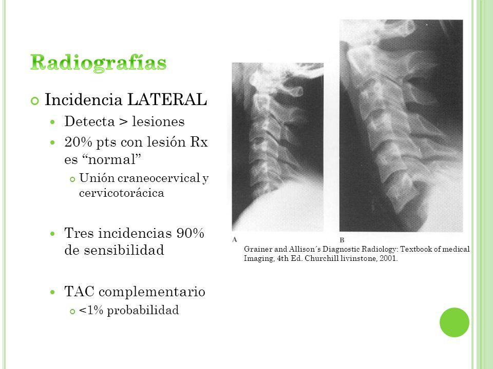 Radiografías Incidencia LATERAL Detecta > lesiones