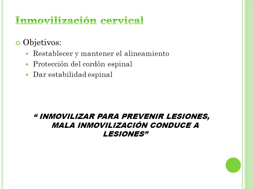Inmovilización cervical