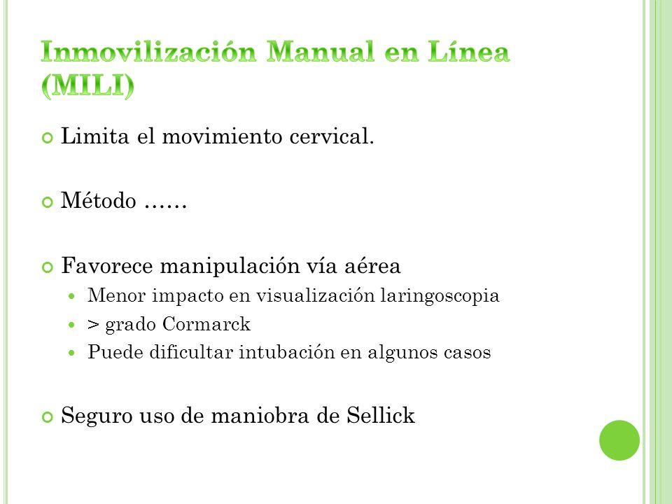 Inmovilización Manual en Línea (MILI)