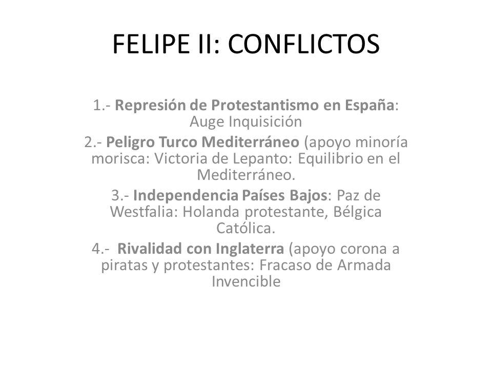 1.- Represión de Protestantismo en España: Auge Inquisición