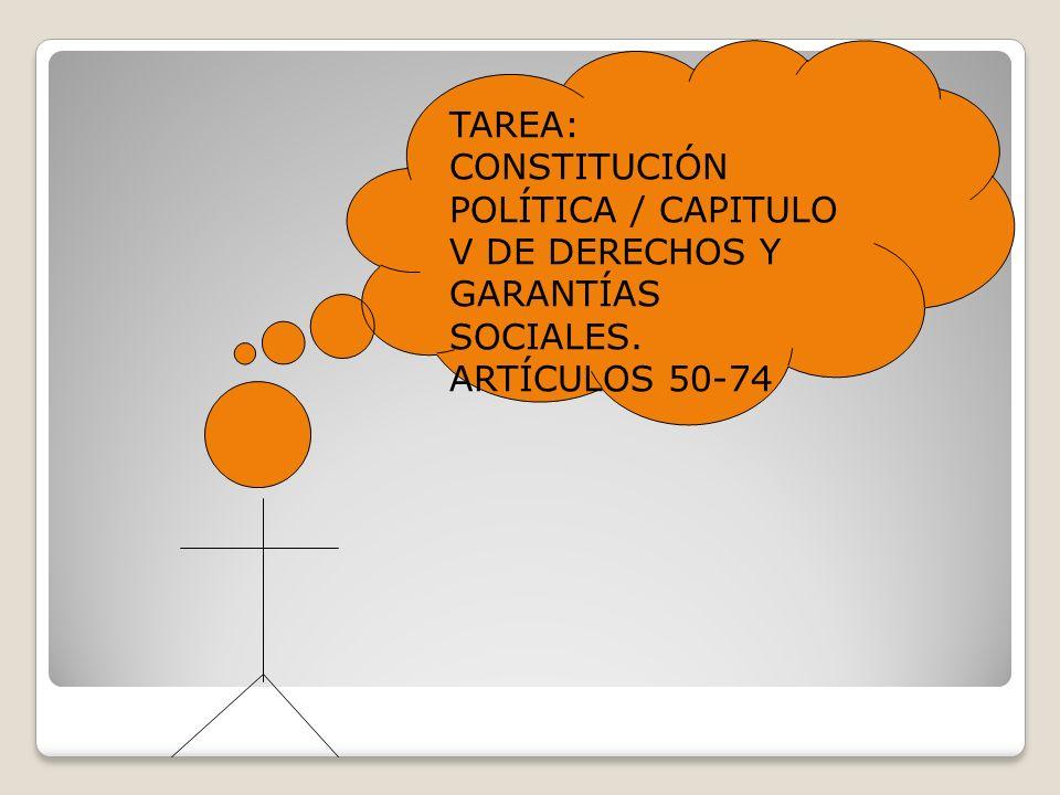 TAREA: CONSTITUCIÓN POLÍTICA / CAPITULO V DE DERECHOS Y GARANTÍAS SOCIALES.