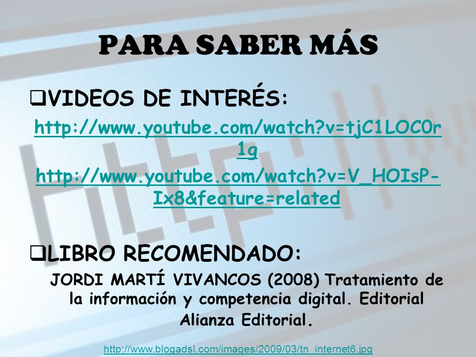 PARA SABER MÁS VIDEOS DE INTERÉS: LIBRO RECOMENDADO: