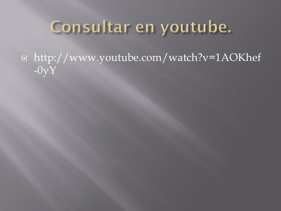 Consultar en youtube. http://www.youtube.com/watch v=1AOKhef-0yY
