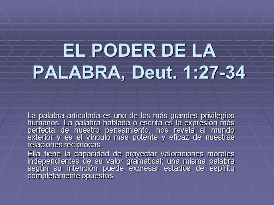 EL PODER DE LA PALABRA, Deut. 1:27-34