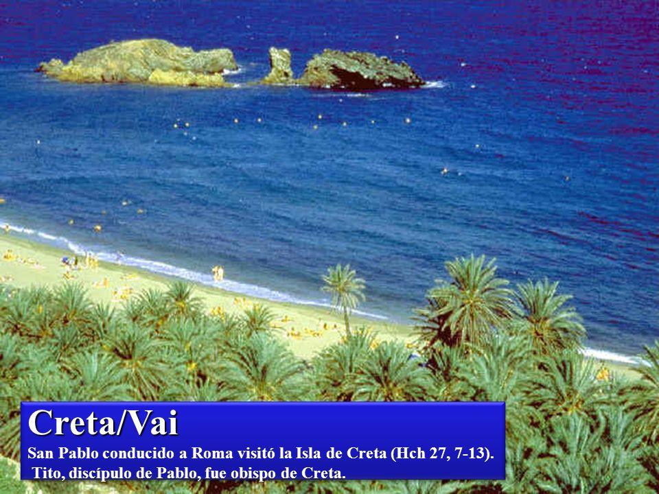 Creta/Vai San Pablo conducido a Roma visitó la Isla de Creta (Hch 27, 7-13).