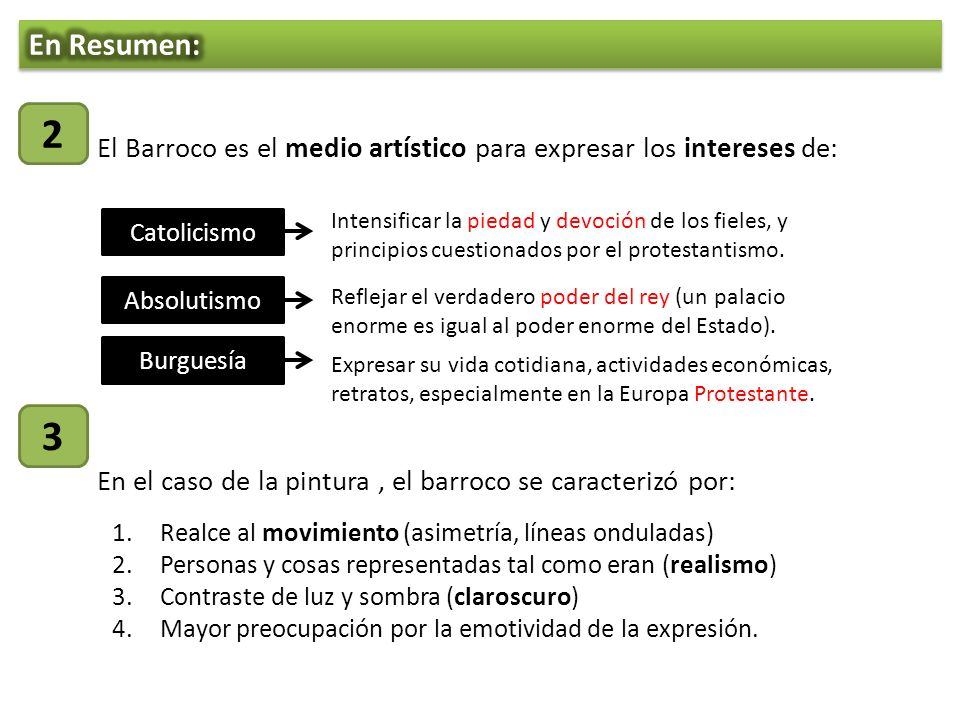 En Resumen: 2. El Barroco es el medio artístico para expresar los intereses de: