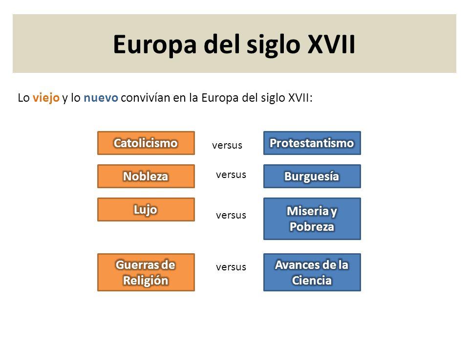 Europa del siglo XVII Lo viejo y lo nuevo convivían en la Europa del siglo XVII: Catolicismo. Protestantismo.