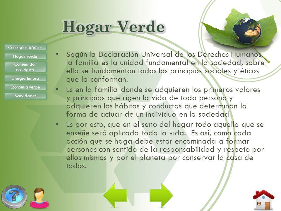 Hogar Verde Conceptos básicos. Hogar verde. Consumidor ecológico. Energía limpia. Economía verde.