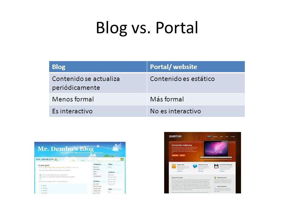 Blog vs. Portal Blog Portal/ website