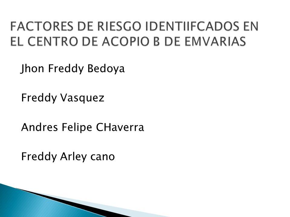 FACTORES DE RIESGO IDENTIIFCADOS EN EL CENTRO DE ACOPIO B DE EMVARIAS