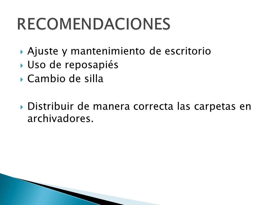 RECOMENDACIONES Ajuste y mantenimiento de escritorio Uso de reposapiés