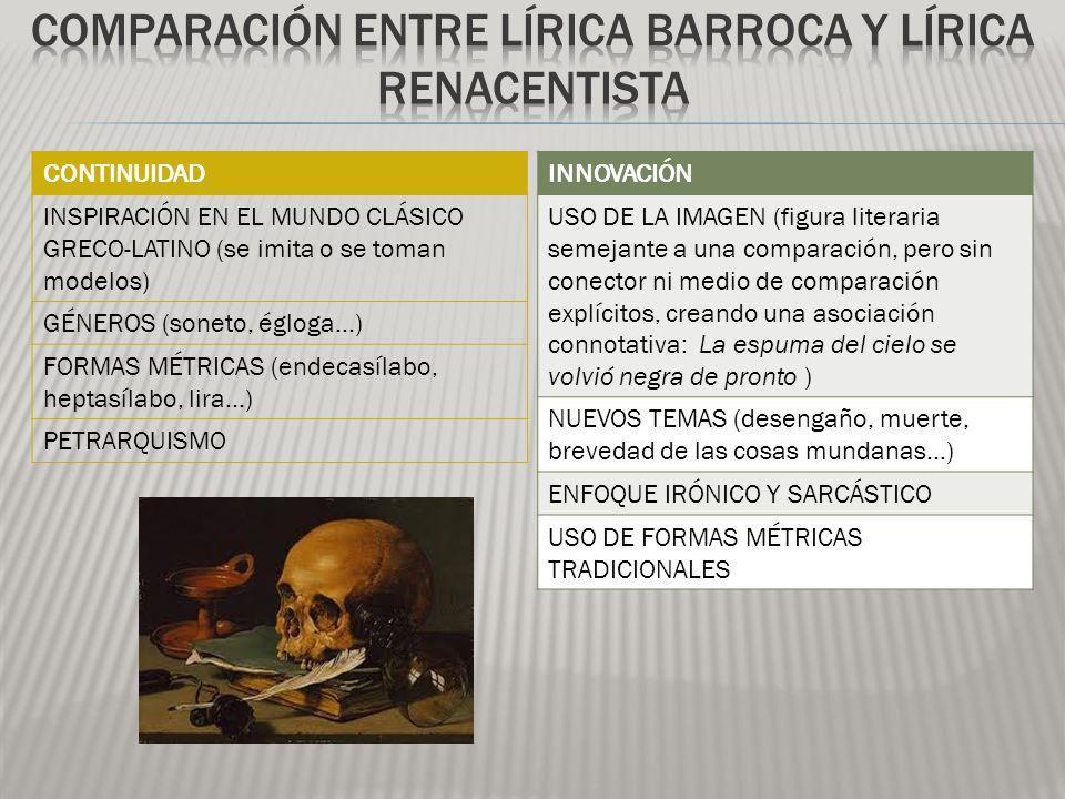 Comparación entre Lírica barroca y lírica renacentista