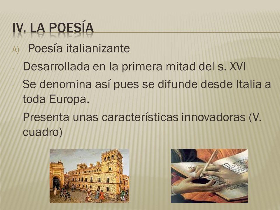 iv. La poesía Poesía italianizante